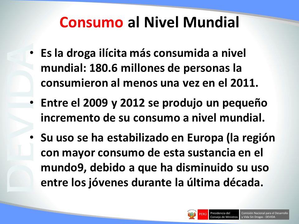 Consumo al Nivel Mundial Es la droga ilícita más consumida a nivel mundial: 180.6 millones de personas la consumieron al menos una vez en el 2011. Ent