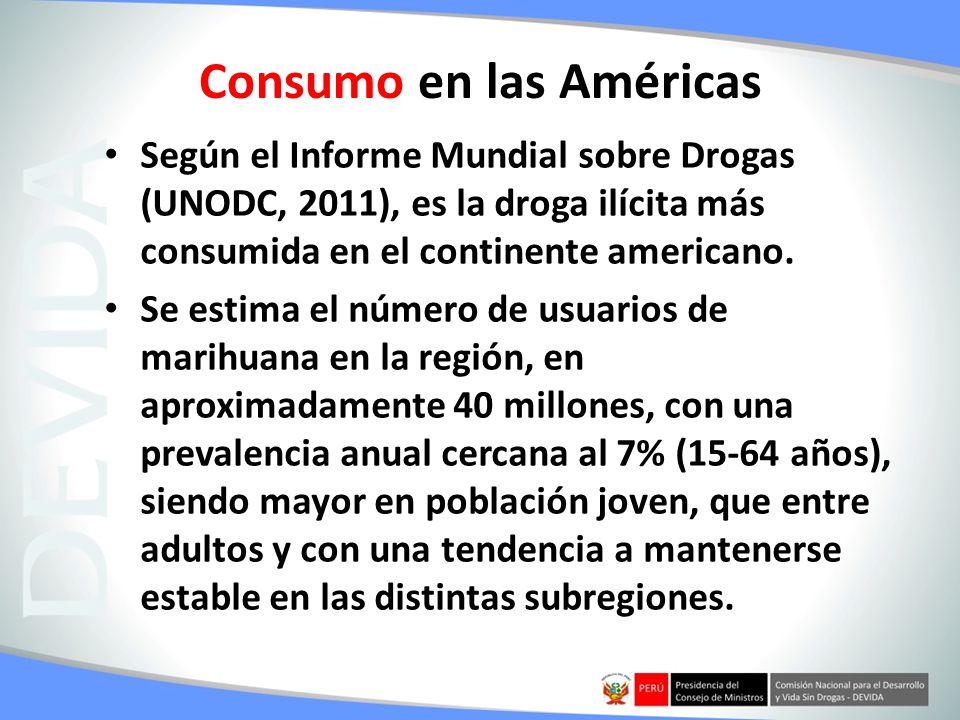 Consumo en las Américas Según el Informe Mundial sobre Drogas (UNODC, 2011), es la droga ilícita más consumida en el continente americano. Se estima e