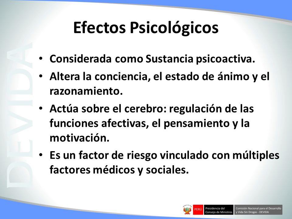 Efectos Psicológicos Considerada como Sustancia psicoactiva. Altera la conciencia, el estado de ánimo y el razonamiento. Actúa sobre el cerebro: regul