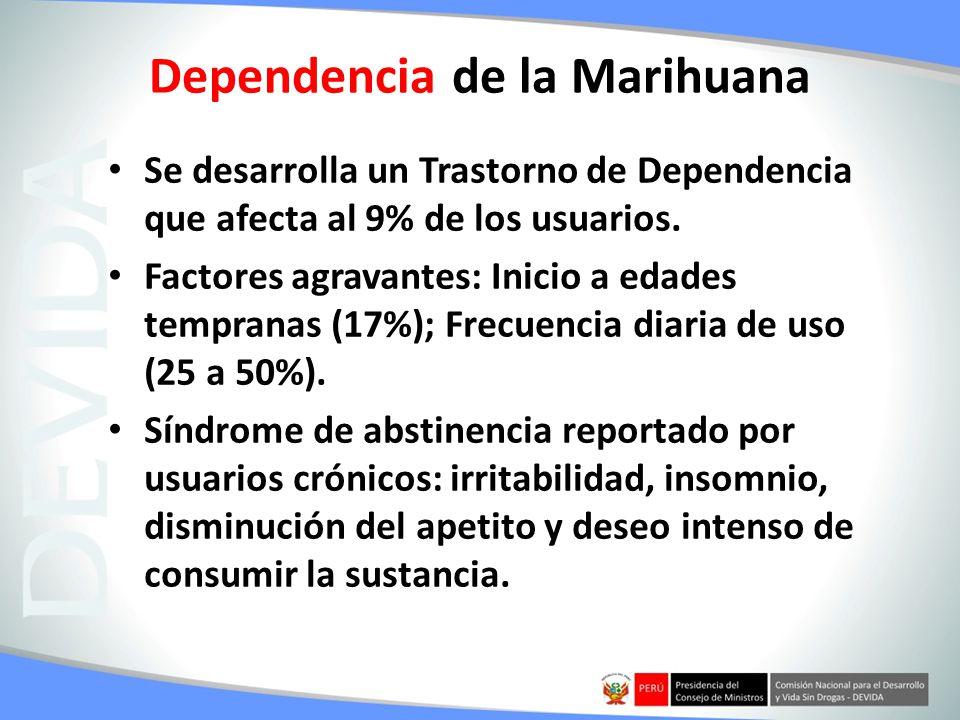 Dependencia de la Marihuana Se desarrolla un Trastorno de Dependencia que afecta al 9% de los usuarios. Factores agravantes: Inicio a edades tempranas