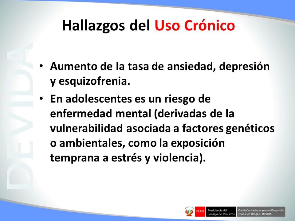 Hallazgos del Uso Crónico Aumento de la tasa de ansiedad, depresión y esquizofrenia. En adolescentes es un riesgo de enfermedad mental (derivadas de l