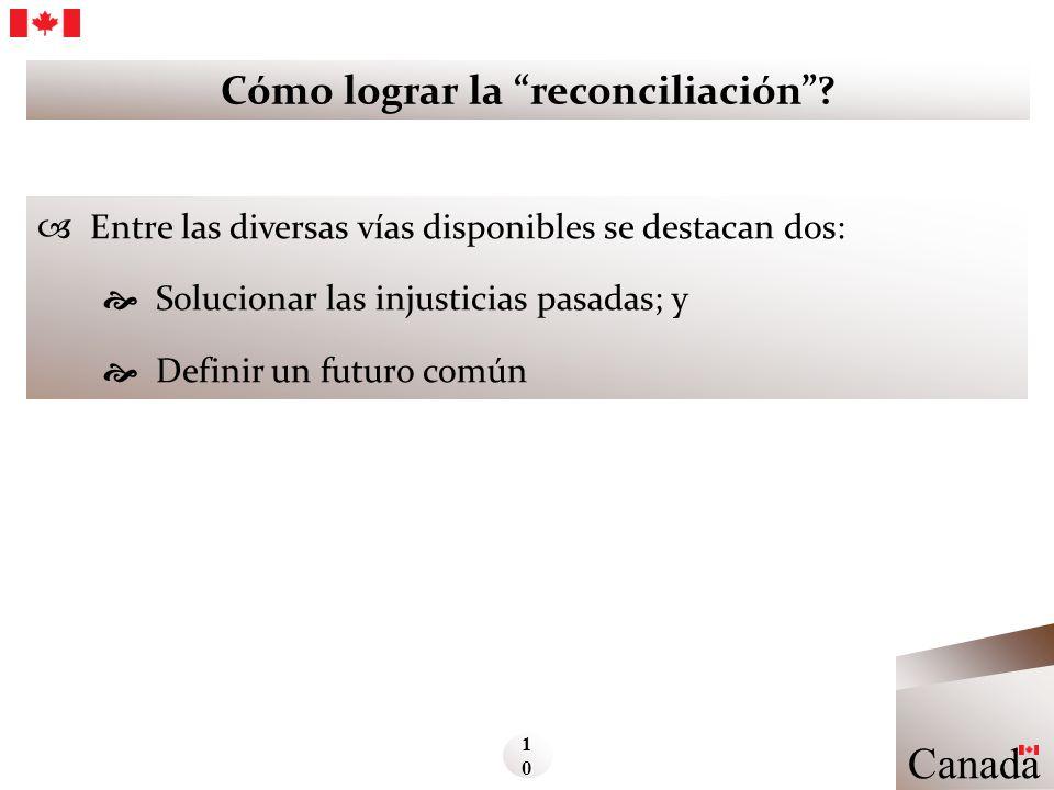 Cómo lograr la reconciliación? Entre las diversas vías disponibles se destacan dos: Solucionar las injusticias pasadas; y Definir un futuro común Cana
