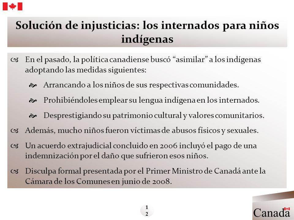 Solución de injusticias: los internados para niños indígenas En el pasado, la política canadiense buscó asimilar a los indígenas adoptando las medidas
