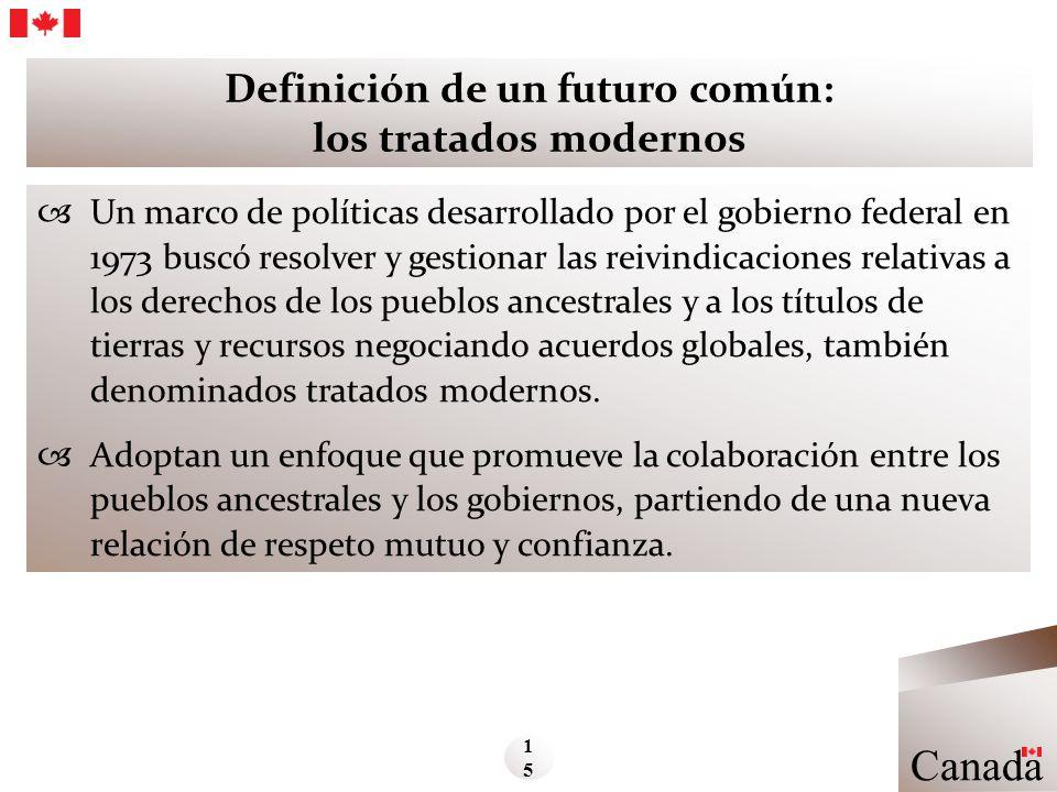 Definición de un futuro común: los tratados modernos Un marco de políticas desarrollado por el gobierno federal en 1973 buscó resolver y gestionar las