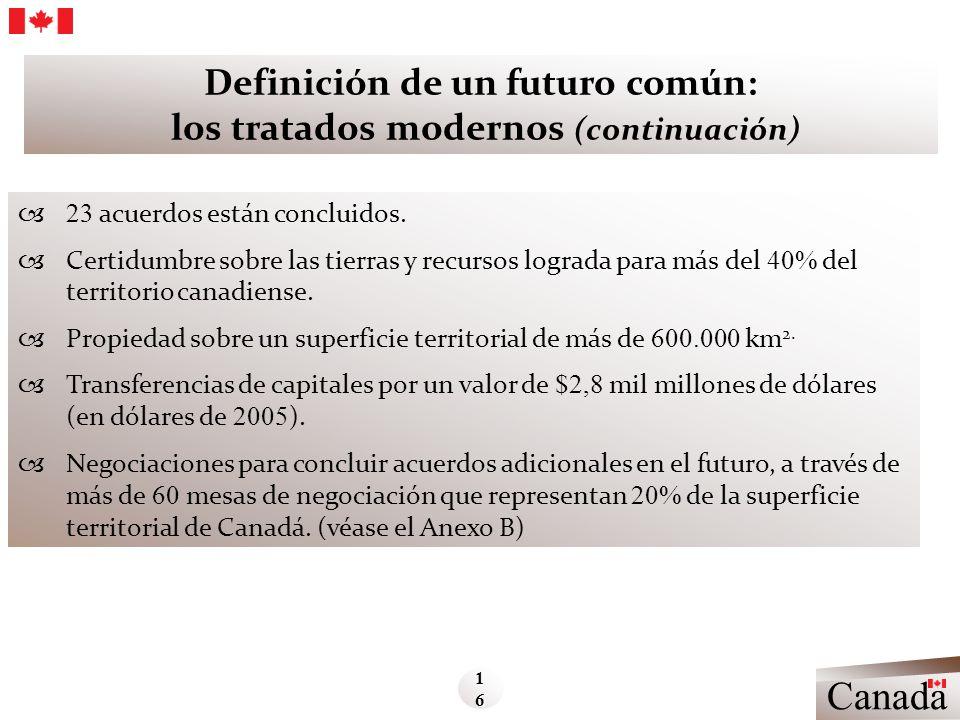 Definición de un futuro común: los tratados modernos (continuación) 23 acuerdos están concluidos. Certidumbre sobre las tierras y recursos lograda par