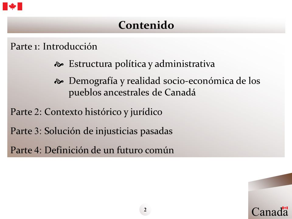 Contenido Parte 1: Introducción Estructura política y administrativa Demografía y realidad socio-económica de los pueblos ancestrales de Canadá Parte