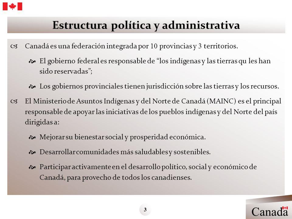 Estructura política y administrativa Canadá es una federación integrada por 10 provincias y 3 territorios. El gobierno federal es responsable de los i