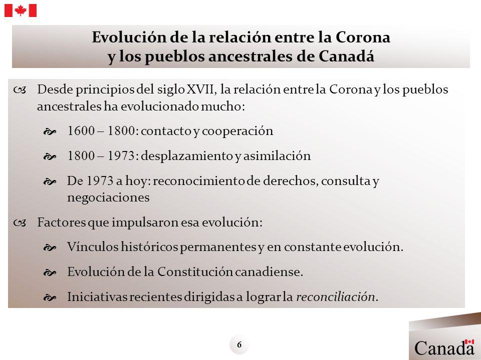 Evolución de la relación entre la Corona y los pueblos ancestrales de Canadá Desde principios del siglo XVII, la relación entre la Corona y los pueblo