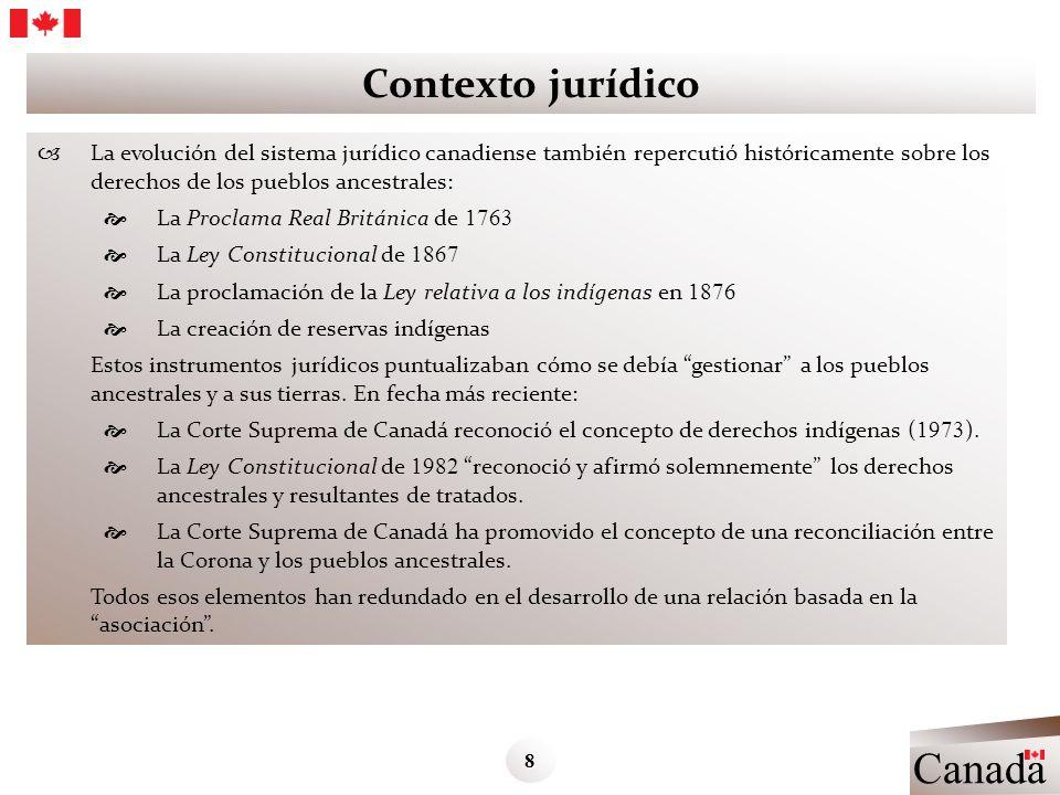Contexto jurídico La evolución del sistema jurídico canadiense también repercutió históricamente sobre los derechos de los pueblos ancestrales: La Pro