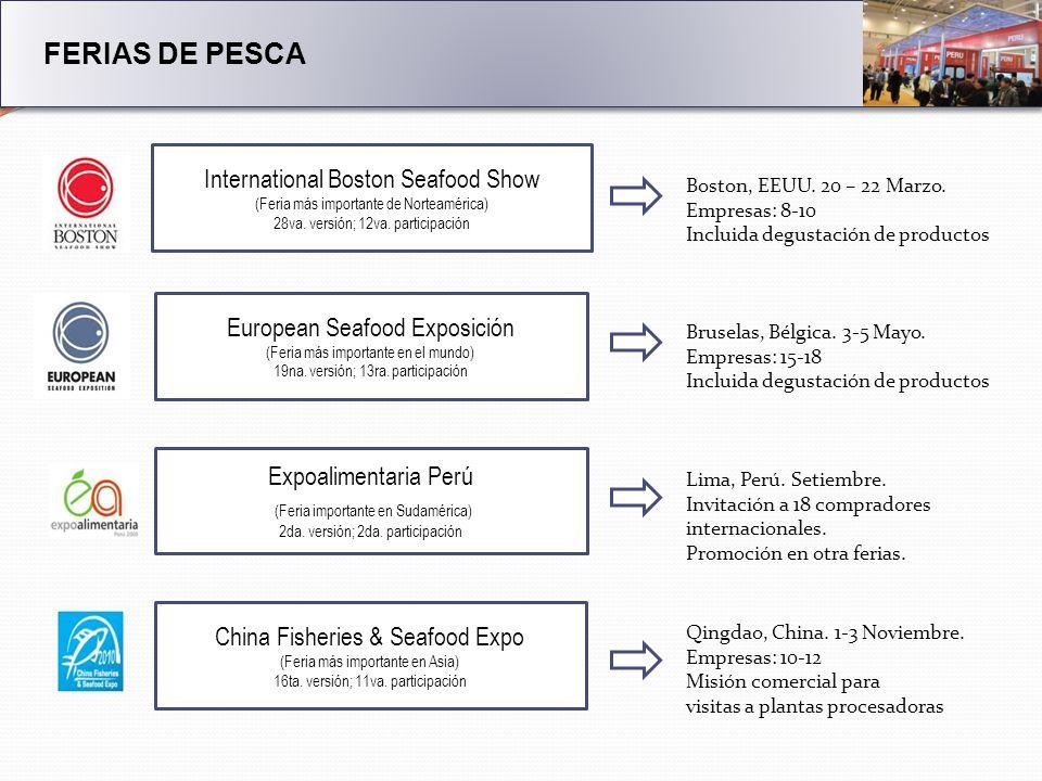 FERIAS DE PESCA International Boston Seafood Show (Feria más importante de Norteamérica) 28va.