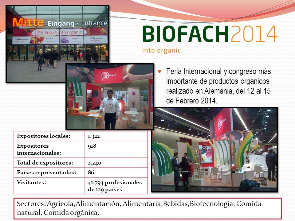 Feria Internacional y congreso más importante de productos orgánicos realizado en Alemania, del 12 al 15 de Febrero 2014.