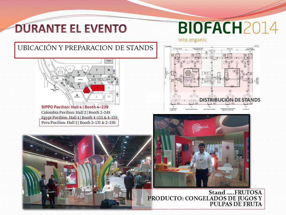 UBICACIÓN Y PREPARACION DE STANDS DISTRIBUCIÓN DE STANDS Stand …..FRUTOSA PRODUCTO: CONGELADOS DE JUGOS Y PULPAS DE FRUTA