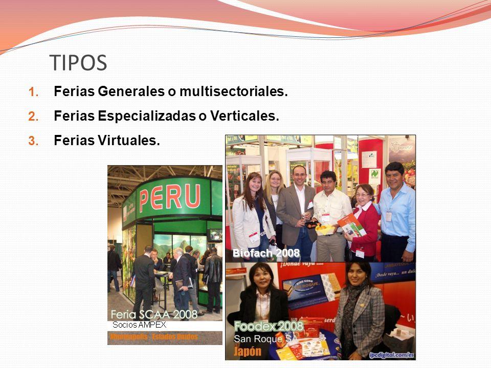 TIPOS 1.Ferias Generales o multisectoriales. 2. Ferias Especializadas o Verticales.
