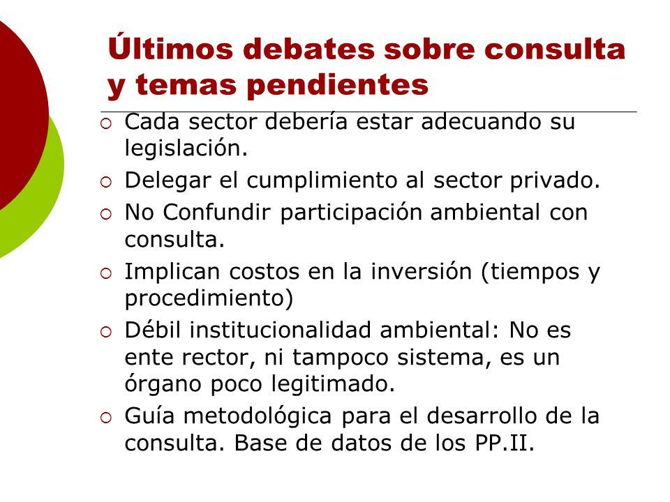 Últimos debates sobre consulta y temas pendientes Cada sector debería estar adecuando su legislación.