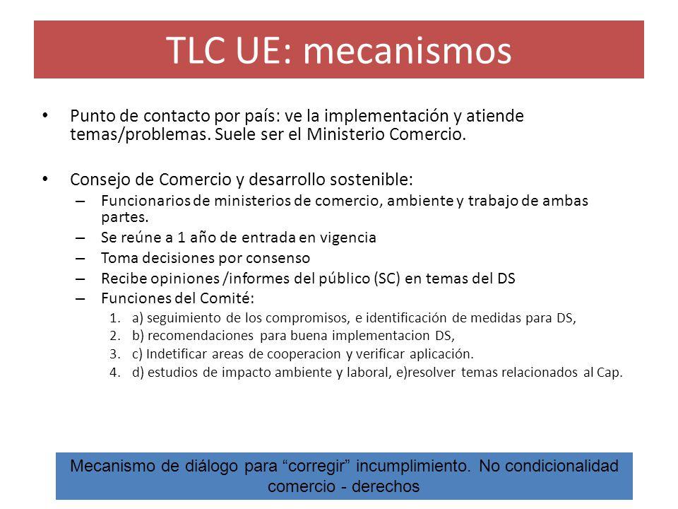 TLC UE: mecanismos Punto de contacto por país: ve la implementación y atiende temas/problemas. Suele ser el Ministerio Comercio. Consejo de Comercio y