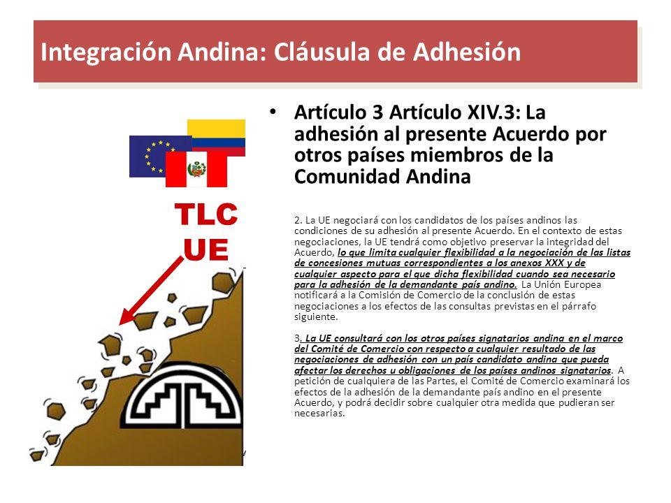 Integración Andina: Cláusula de Adhesión TLC UE Artículo 3 Artículo XIV.3: La adhesión al presente Acuerdo por otros países miembros de la Comunidad A