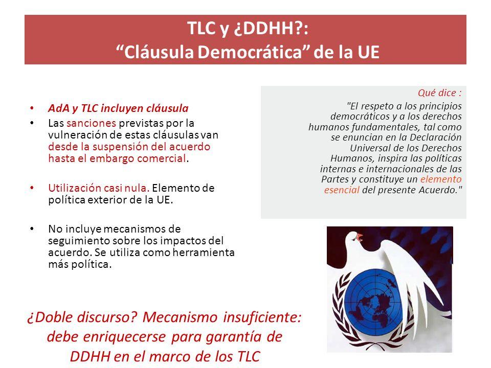 TLC y ¿DDHH?: Cláusula Democrática de la UE AdA y TLC incluyen cláusula Las sanciones previstas por la vulneración de estas cláusulas van desde la sus