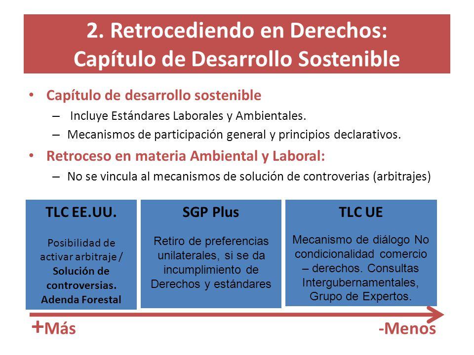 2. Retrocediendo en Derechos: Capítulo de Desarrollo Sostenible Capítulo de desarrollo sostenible – Incluye Estándares Laborales y Ambientales. – Meca