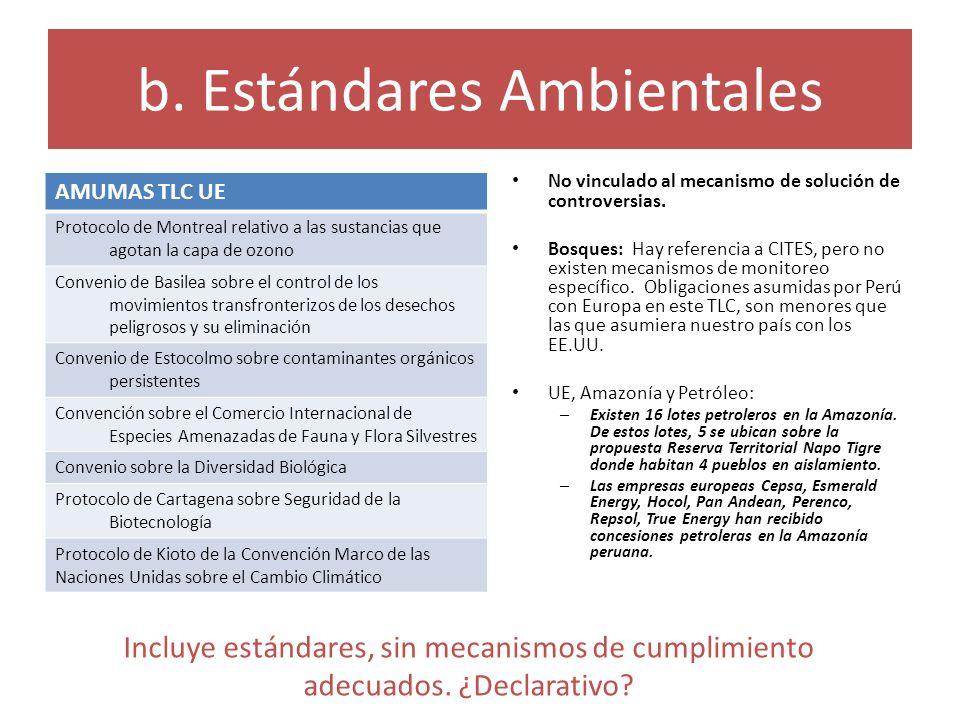 b. Estándares Ambientales No vinculado al mecanismo de solución de controversias. Bosques: Hay referencia a CITES, pero no existen mecanismos de monit