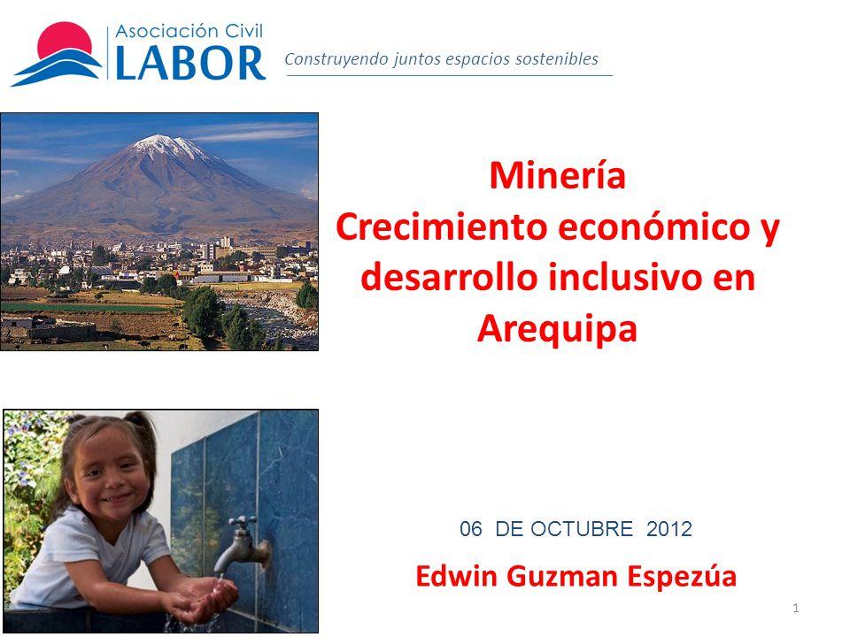2 El dinamismo de Arequipa Construyendo juntos espacios sostenibles Crece más que el promedio nacional.