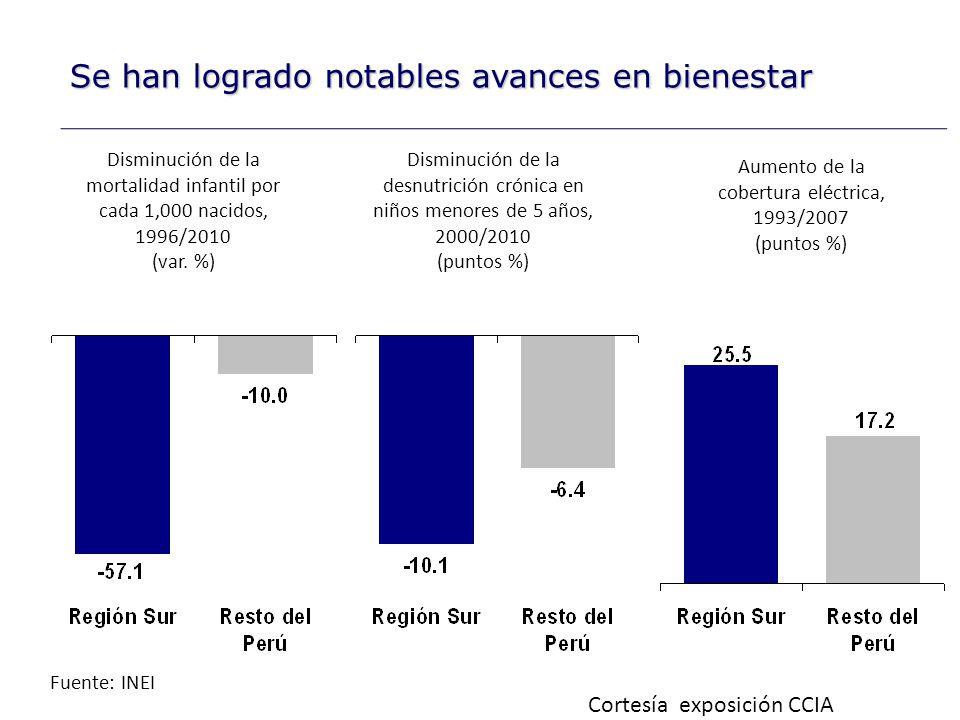 Fuente: INEI Aumento del ingreso promedio mensual por trabajo, 2001/2009 (var.