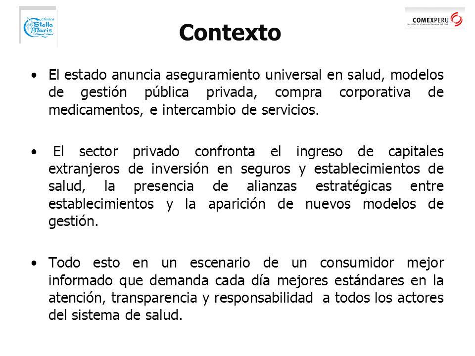 Contexto El estado anuncia aseguramiento universal en salud, modelos de gestión pública privada, compra corporativa de medicamentos, e intercambio de servicios.