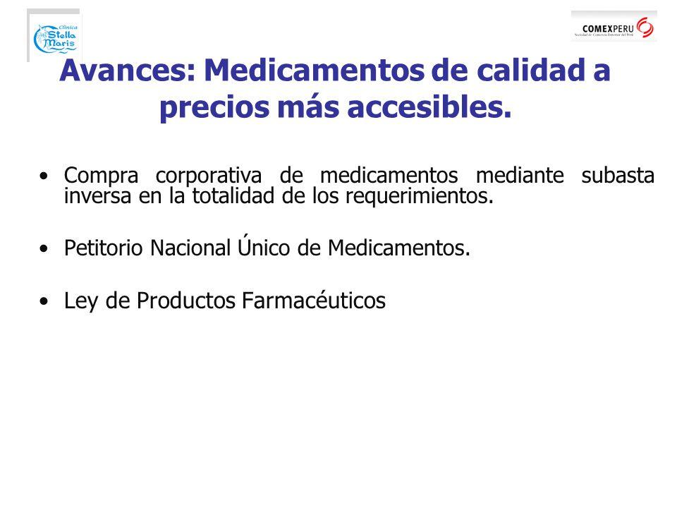 Compra corporativa de medicamentos mediante subasta inversa en la totalidad de los requerimientos.