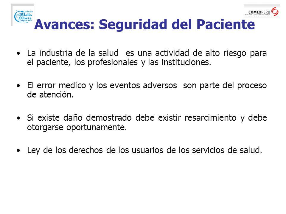 Avances: Seguridad del Paciente La industria de la salud es una actividad de alto riesgo para el paciente, los profesionales y las instituciones.