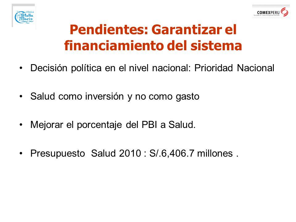 Decisión política en el nivel nacional: Prioridad Nacional Salud como inversión y no como gasto Mejorar el porcentaje del PBI a Salud.