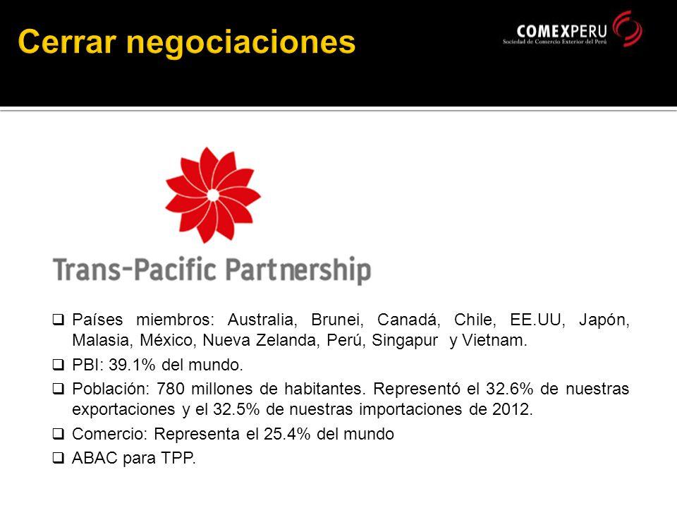 Países miembros: Australia, Brunei, Canadá, Chile, EE.UU, Japón, Malasia, México, Nueva Zelanda, Perú, Singapur y Vietnam.