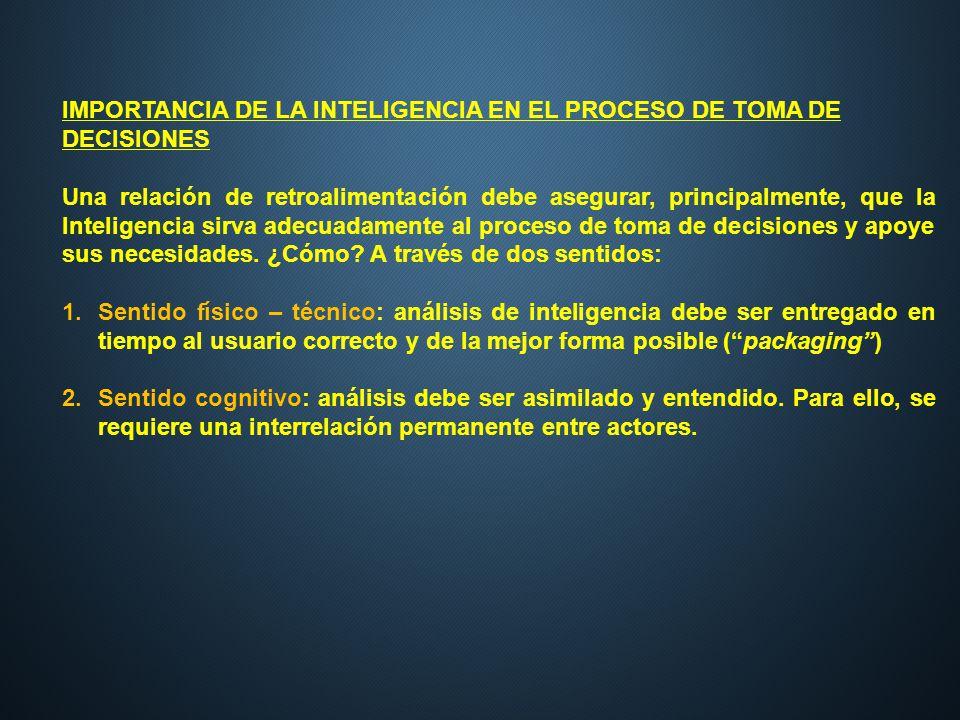 IMPORTANCIA DE LA INTELIGENCIA EN EL PROCESO DE TOMA DE DECISIONES Una relación de retroalimentación debe asegurar, principalmente, que la Inteligenci