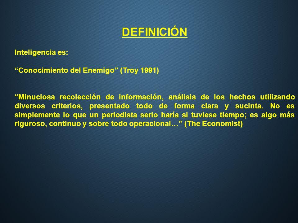 DEFINICIÓN Inteligencia es: Conocimiento del Enemigo (Troy 1991) Minuciosa recolección de información, análisis de los hechos utilizando diversos crit