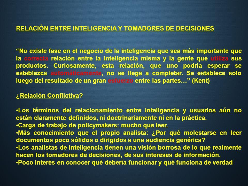 RELACIÓN ENTRE INTELIGENCIA Y TOMADORES DE DECISIONES No existe fase en el negocio de la inteligencia que sea más importante que la correcta relación