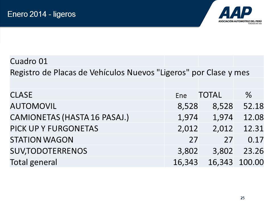 25 Enero 2014 - ligeros Cuadro 01 Registro de Placas de Vehículos Nuevos