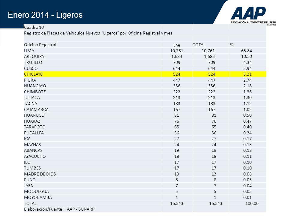 27 Enero 2014 - Ligeros Cuadro 10 Registro de Placas de Vehículos Nuevos