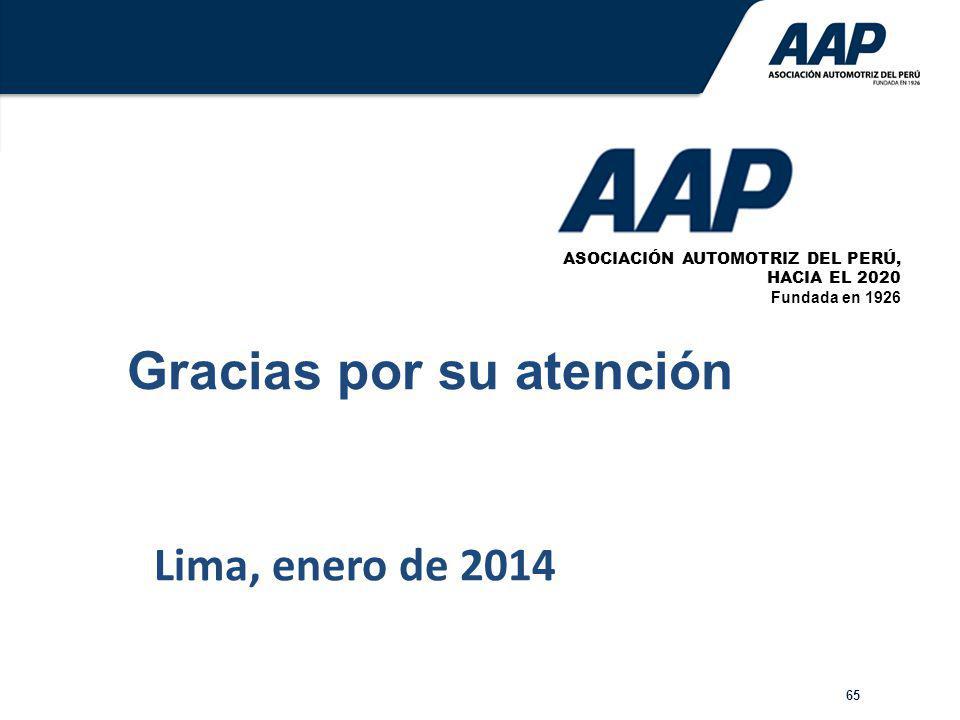 65 Lima, enero de 2014 ASOCIACIÓN AUTOMOTRIZ DEL PERÚ, HACIA EL 2020 Fundada en 1926 Gracias por su atención