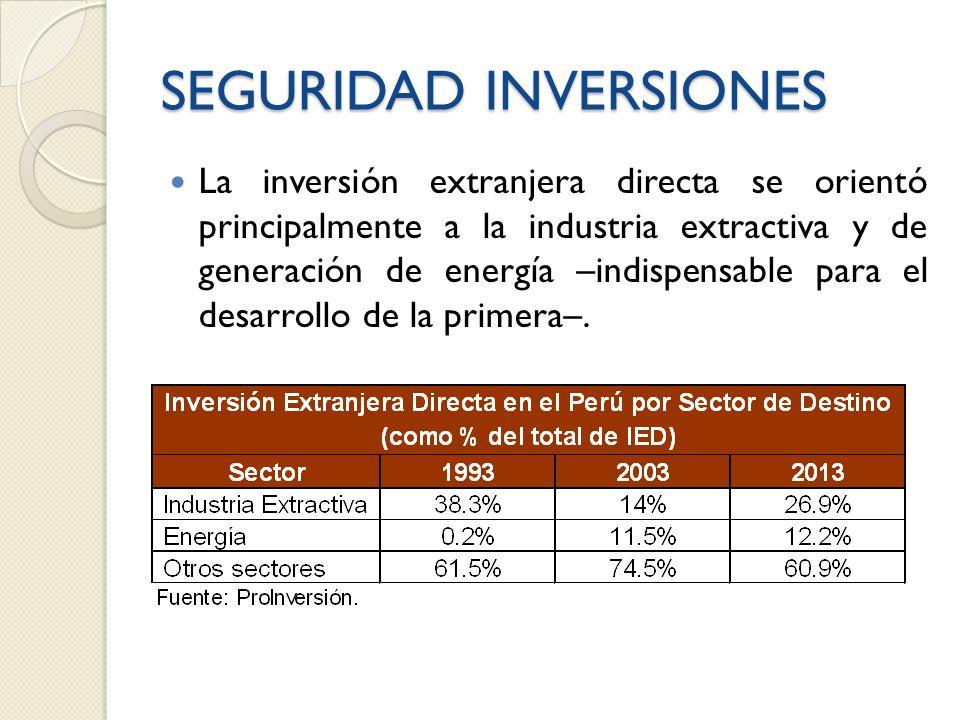 SEGURIDAD INVERSIONES La inversión extranjera directa se orientó principalmente a la industria extractiva y de generación de energía –indispensable para el desarrollo de la primera–.