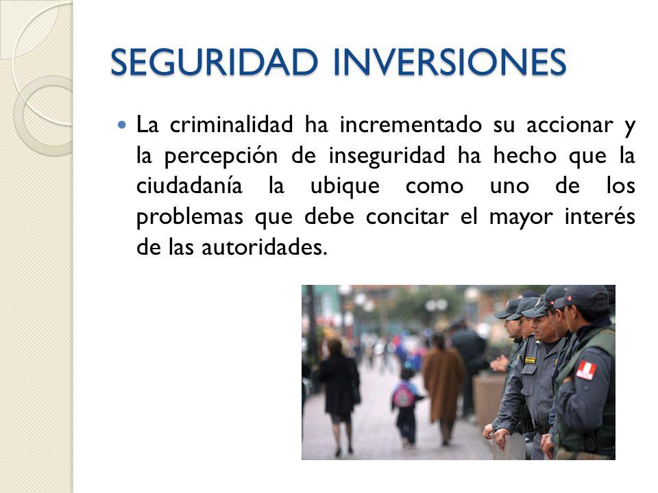 SEGURIDAD INVERSIONES La criminalidad ha incrementado su accionar y la percepción de inseguridad ha hecho que la ciudadanía la ubique como uno de los problemas que debe concitar el mayor interés de las autoridades.