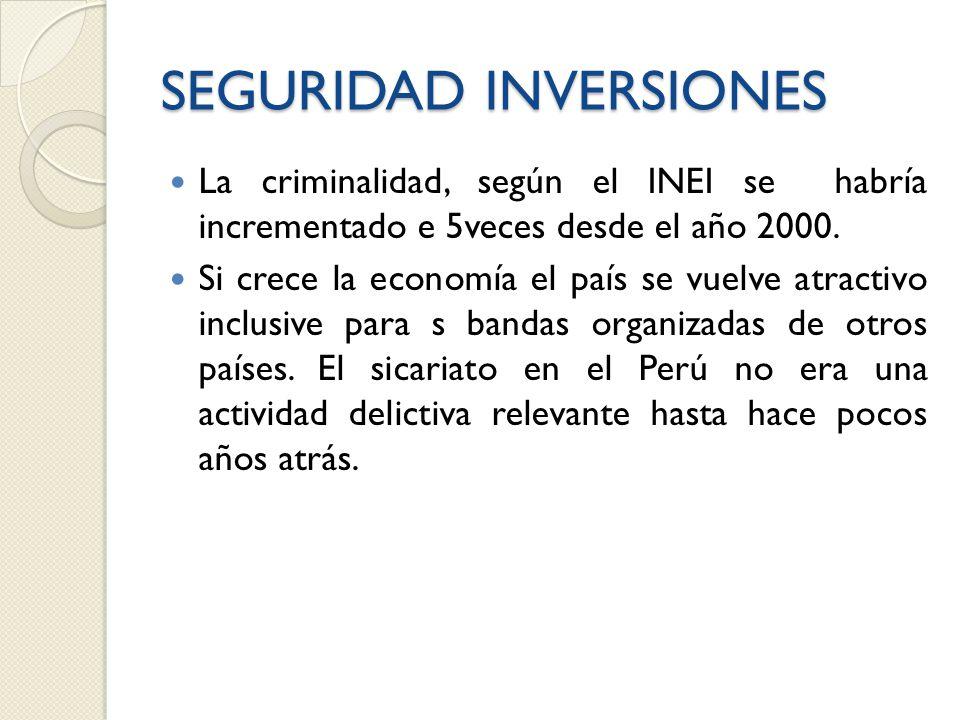 SEGURIDAD INVERSIONES La criminalidad, según el INEI se habría incrementado e 5veces desde el año 2000.