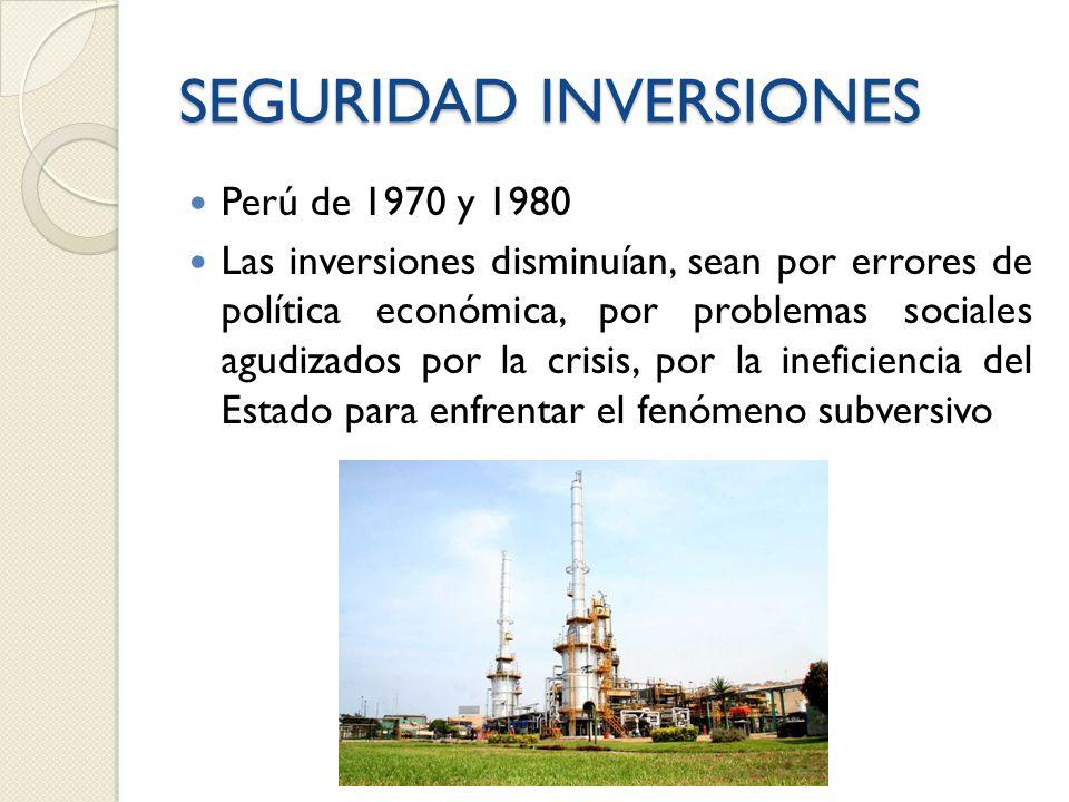 SEGURIDAD INVERSIONES Perú de 1970 y 1980 Las inversiones disminuían, sean por errores de política económica, por problemas sociales agudizados por la crisis, por la ineficiencia del Estado para enfrentar el fenómeno subversivo