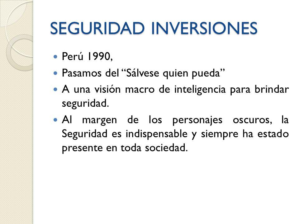 SEGURIDAD INVERSIONES Perú 1990, Pasamos del Sálvese quien pueda A una visión macro de inteligencia para brindar seguridad.