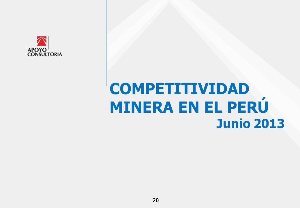 20 COMPETITIVIDAD MINERA EN EL PERÚ Junio 2013