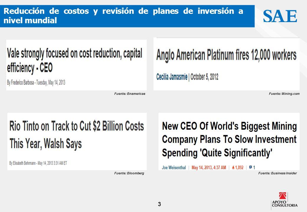 3 Reducción de costos y revisión de planes de inversión a nivel mundial Fuente: Business InsiderFuente: Bloomberg Fuente: BnamericasFuente: Mining.com