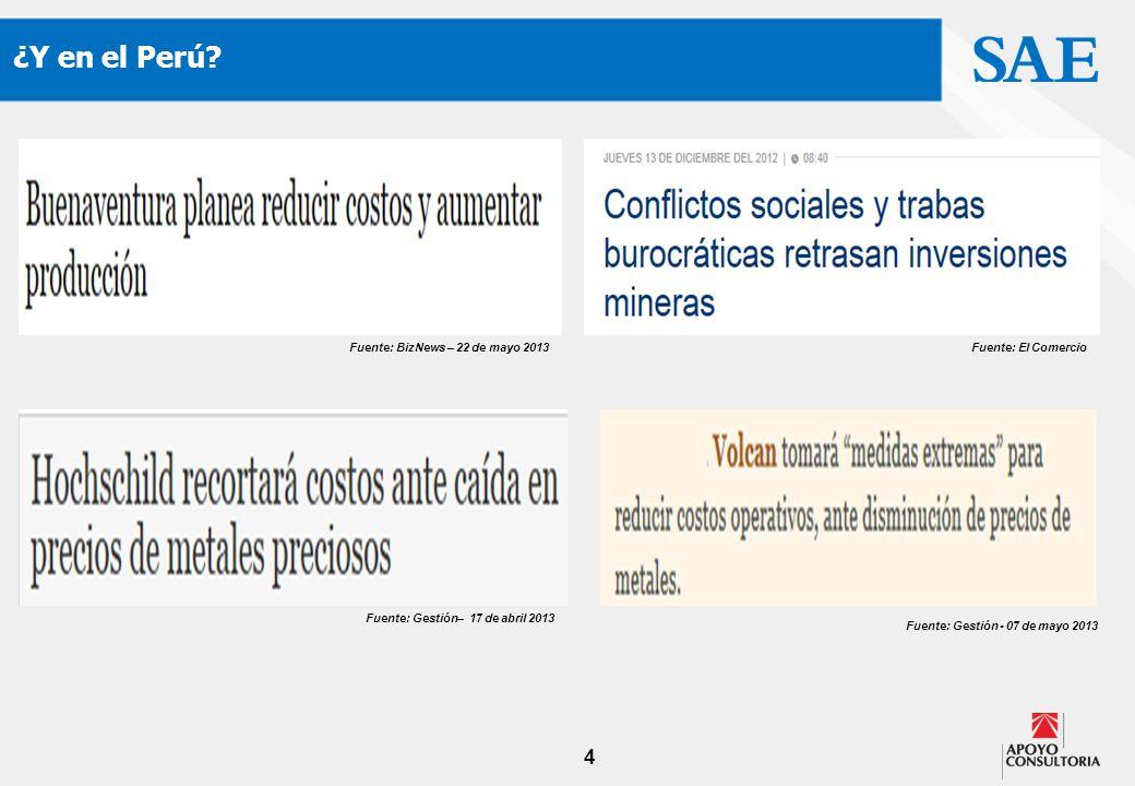 4 ¿Y en el Perú? Fuente: Gestión - 07 de mayo 2013 Fuente: El ComercioFuente: BizNews – 22 de mayo 2013 Fuente: Gestión– 17 de abril 2013