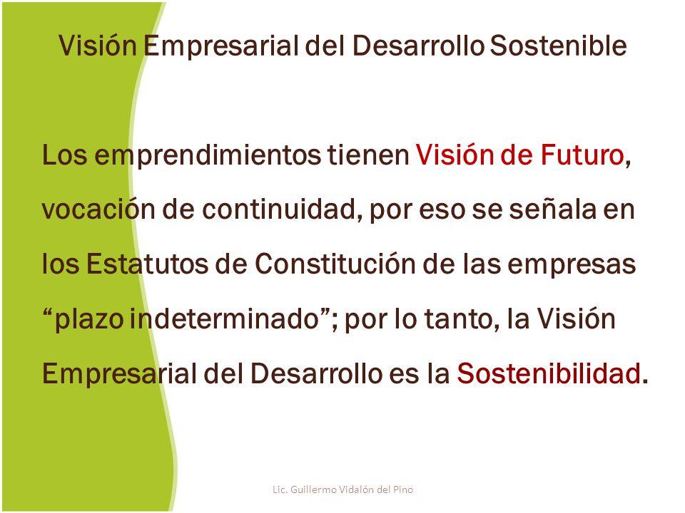 Los emprendimientos tienen Visión de Futuro, vocación de continuidad, por eso se señala en los Estatutos de Constitución de las empresas plazo indeterminado; por lo tanto, la Visión Empresarial del Desarrollo es la Sostenibilidad.