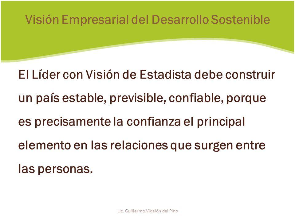 El Líder con Visión de Estadista debe construir un país estable, previsible, confiable, porque es precisamente la confianza el principal elemento en las relaciones que surgen entre las personas.