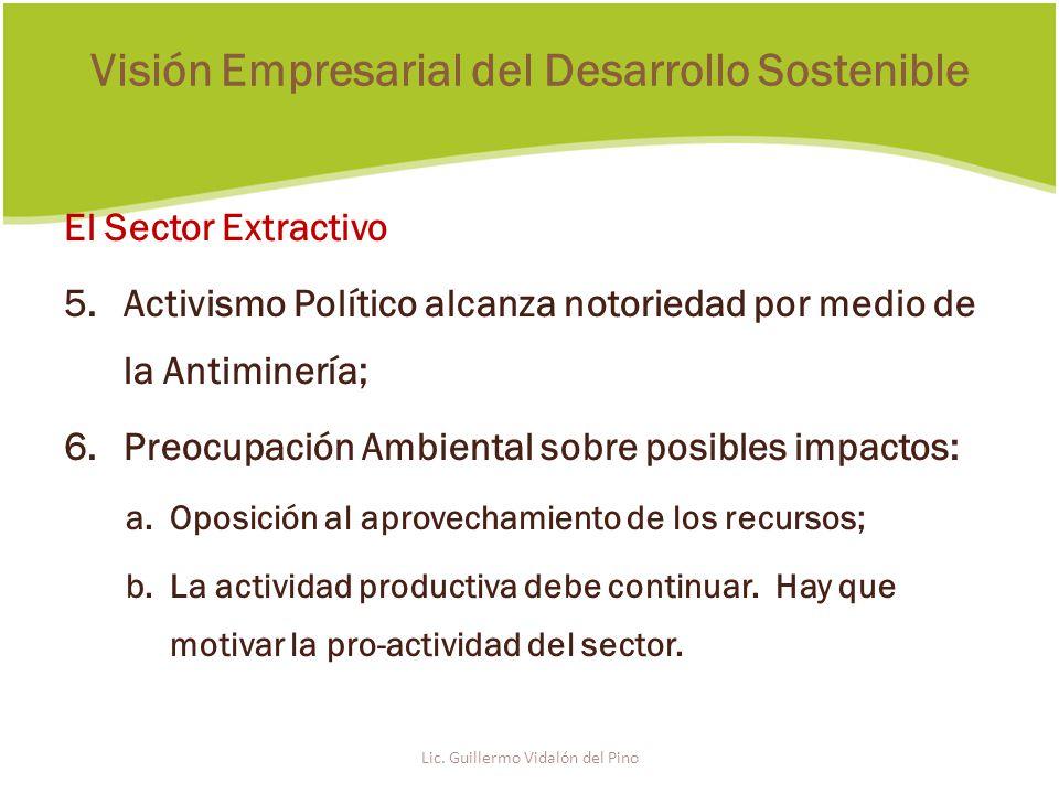 El Sector Extractivo 5.Activismo Político alcanza notoriedad por medio de la Antiminería; 6.Preocupación Ambiental sobre posibles impactos: a.Oposición al aprovechamiento de los recursos; b.La actividad productiva debe continuar.