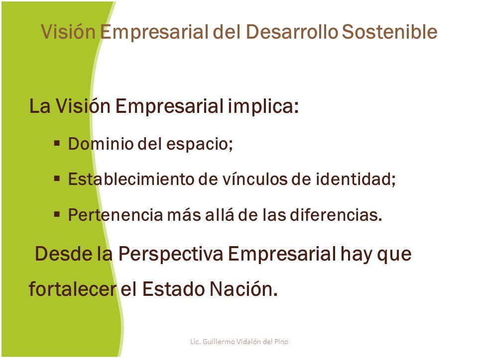 La Visión Empresarial implica: Dominio del espacio; Establecimiento de vínculos de identidad; Pertenencia más allá de las diferencias.