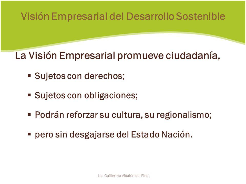 La Visión Empresarial promueve ciudadanía, Sujetos con derechos; Sujetos con obligaciones; Podrán reforzar su cultura, su regionalismo; pero sin desgajarse del Estado Nación.