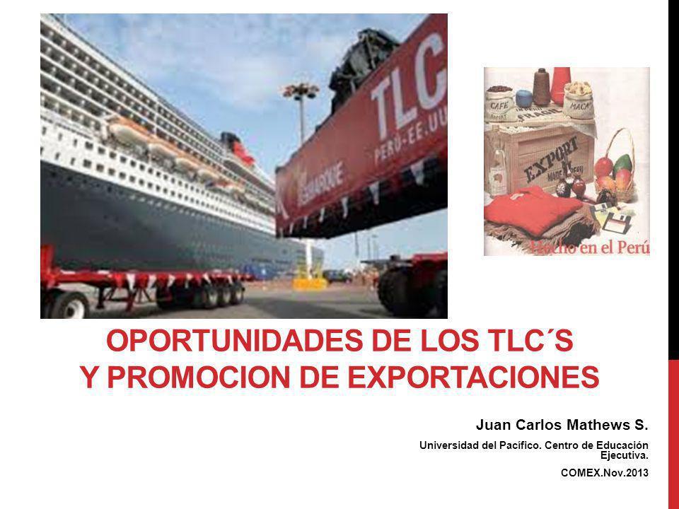 Juan Carlos Mathews S. Universidad del Pacífico. Centro de Educación Ejecutiva. COMEX.Nov.2013 OPORTUNIDADES DE LOS TLC´S Y PROMOCION DE EXPORTACIONES